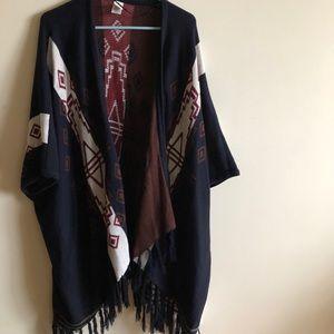 Anthropologie fringe boho shawl / poncho